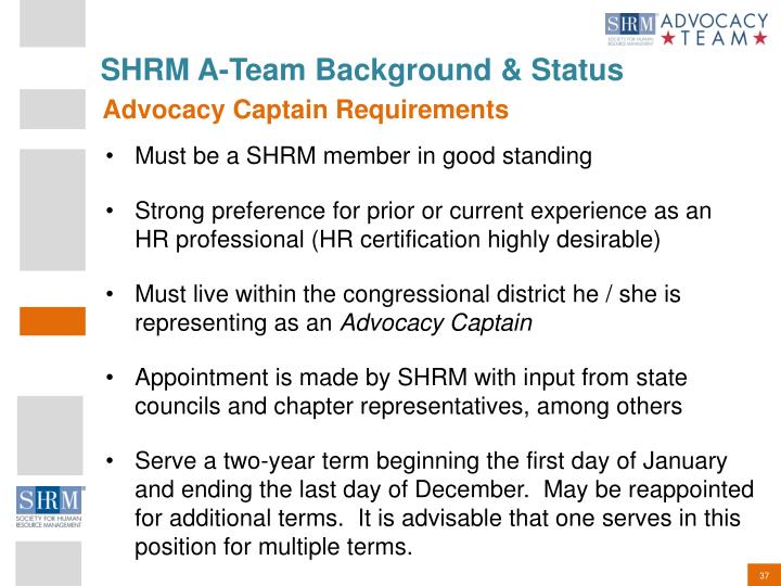 SHRM A-Team Background & Status