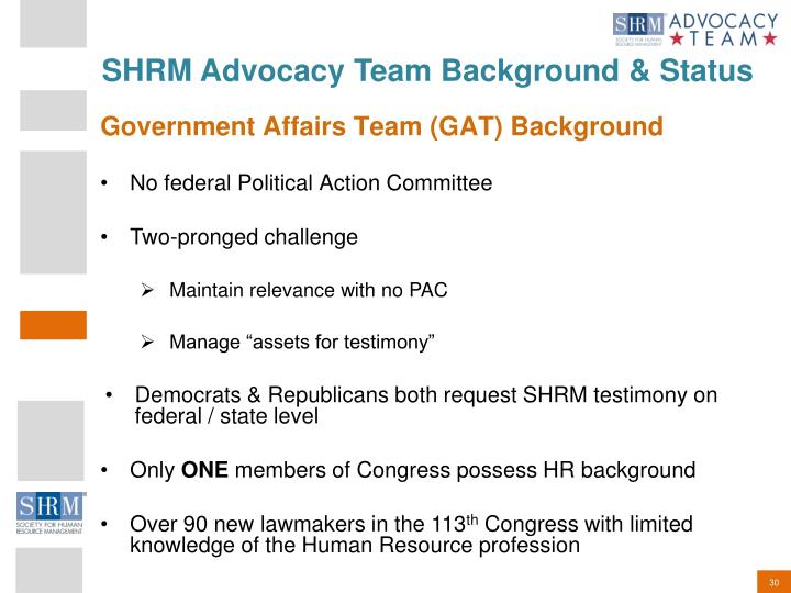 SHRM Advocacy Team Background & Status