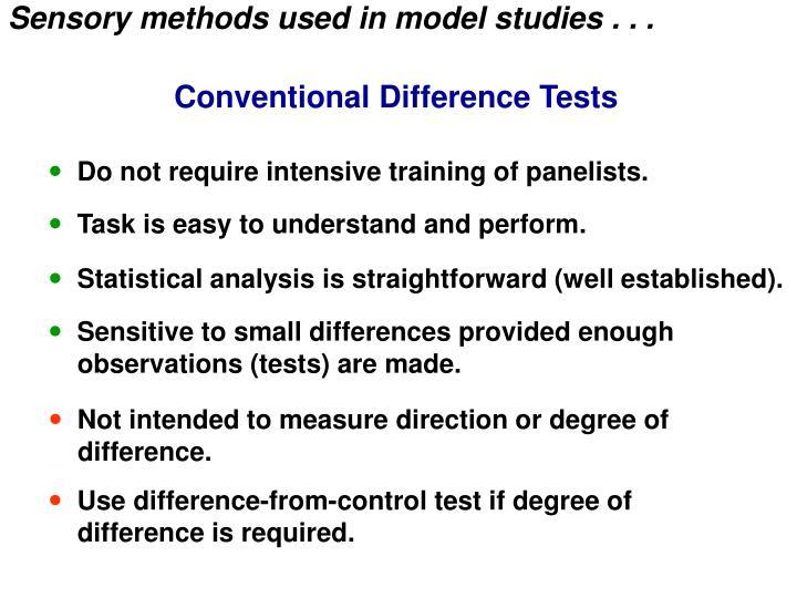 Sensory methods used in model studies . . .