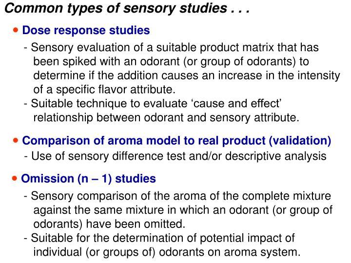 Common types of sensory studies . . .