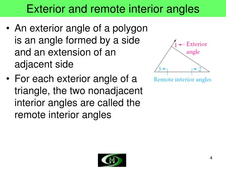 Exterior and remote interior angles