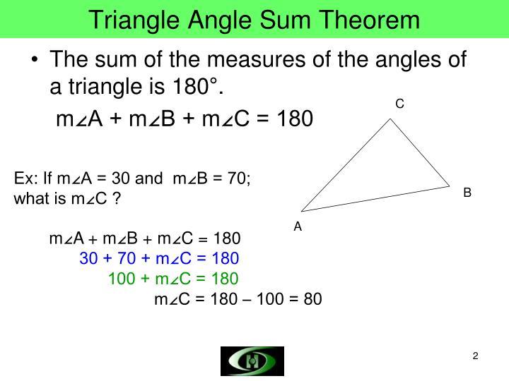 Ppt triangle angle sum theorem triangle exterior angle - Triangle exterior angle sum theorem ...