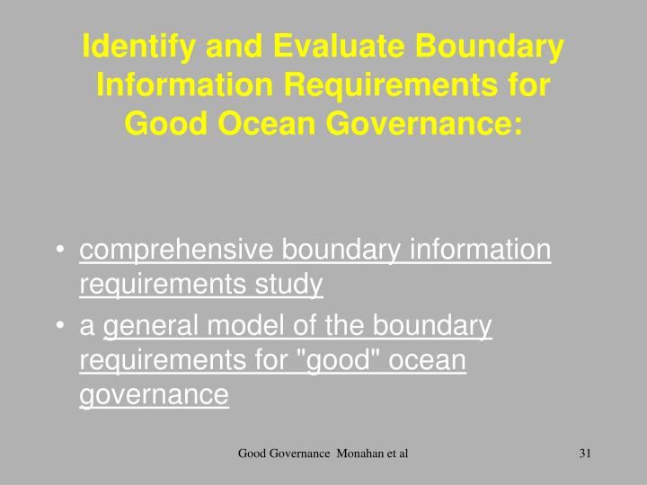 Identify and Evaluate Boundary Information Requirements for Good Ocean Governance: