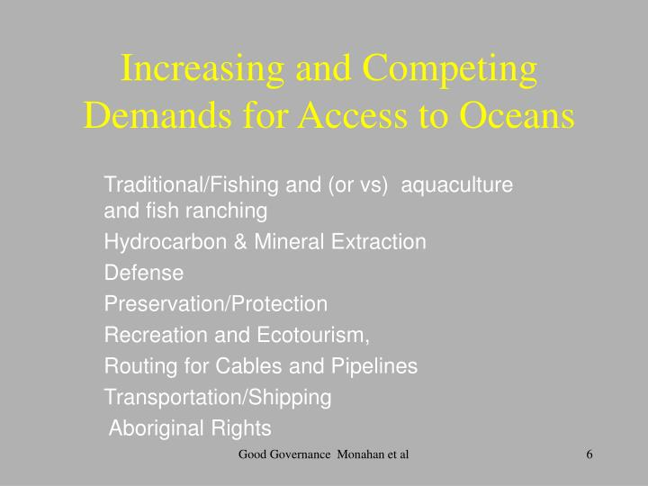 Increasing and Competing Demands for Access to Oceans