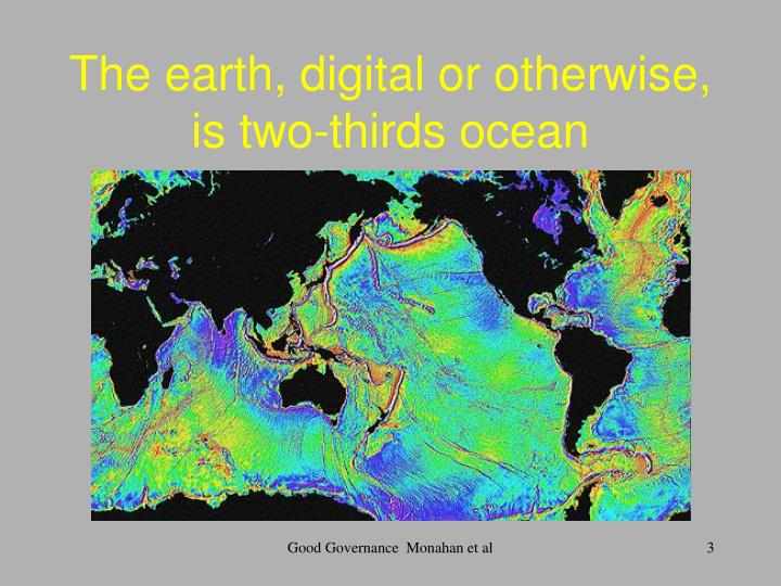 The earth digital or otherwise is two thirds ocean