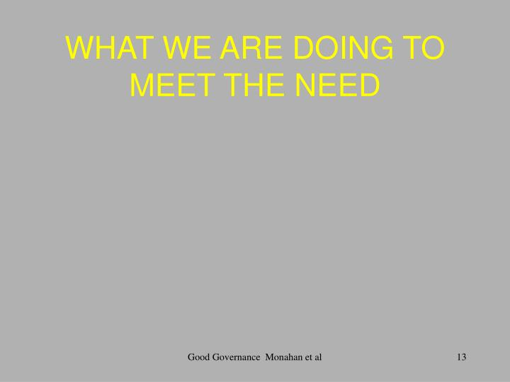 WHAT WE ARE DOING TO MEET THE NEED