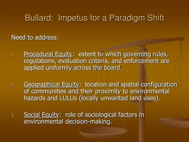 Bullard:  Impetus for a Paradigm Shift