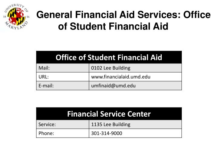 General financial aid services office of student financial aid