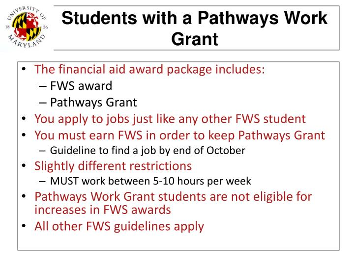 Students with a Pathways Work Grant