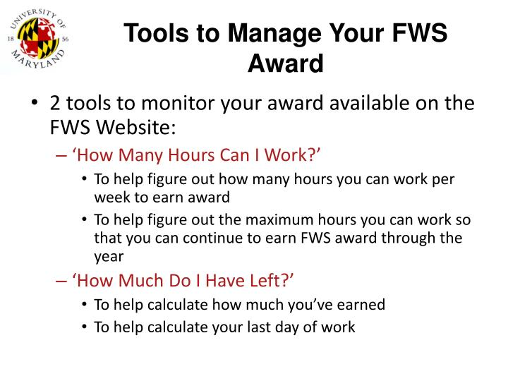 Tools to Manage Your FWS Award