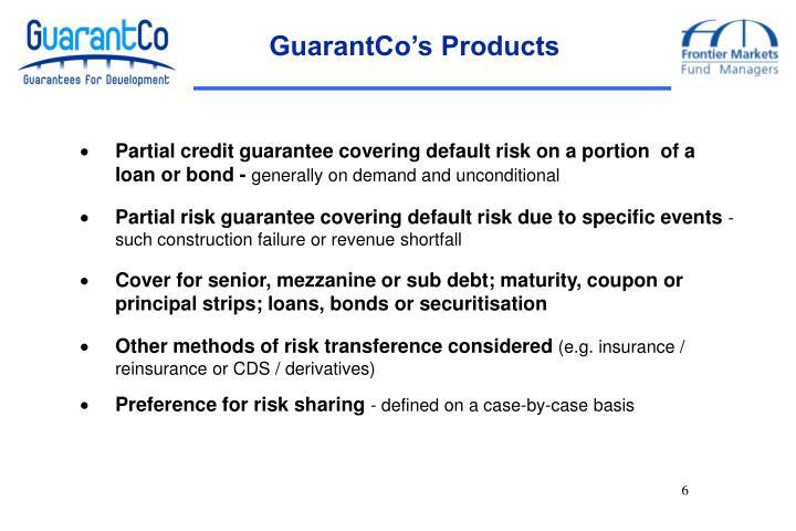 GuarantCo's Products