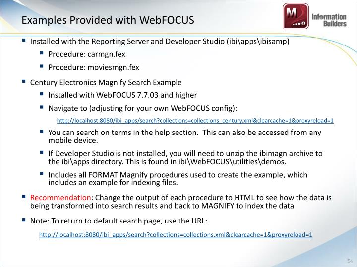 Examples Provided with WebFOCUS