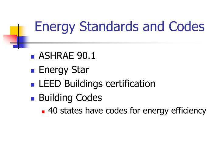 Energy Standards and Codes