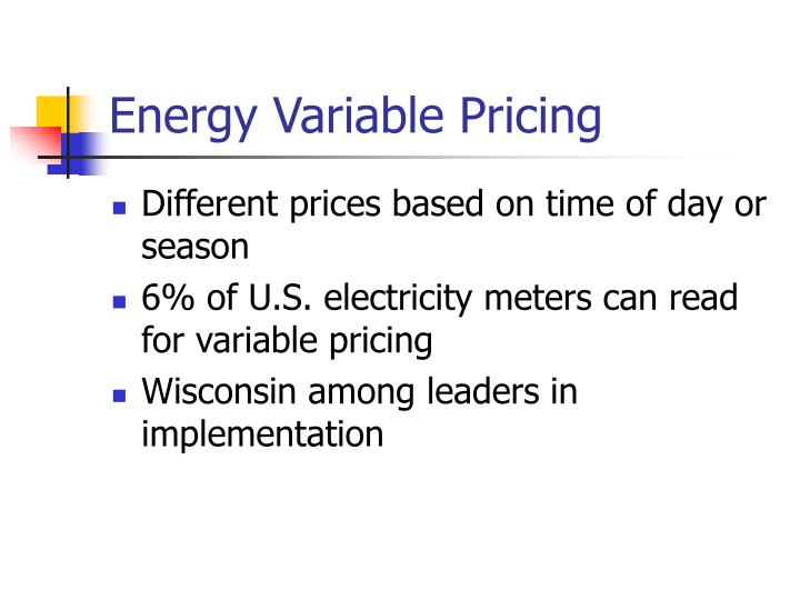 Energy Variable Pricing