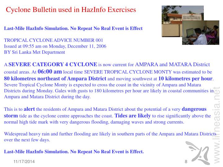 Cyclone Bulletin used in HazInfo Exercises