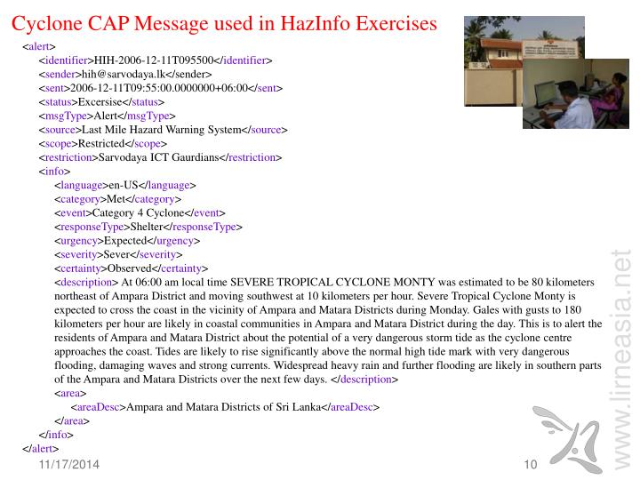 Cyclone CAP Message used in HazInfo Exercises
