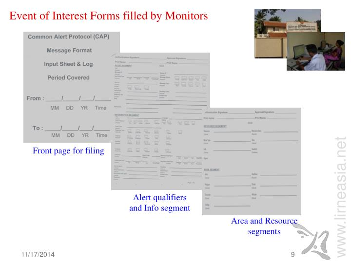 Event of Interest Forms filled by Monitors