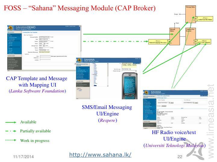 """FOSS – """"Sahana"""" Messaging Module (CAP Broker)"""