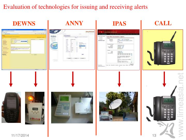 Evaluation of technologies for issuing and receiving alerts