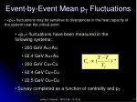 event by event mean p t fluctuations