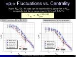 p t fluctuations vs centrality