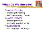 what do we encode