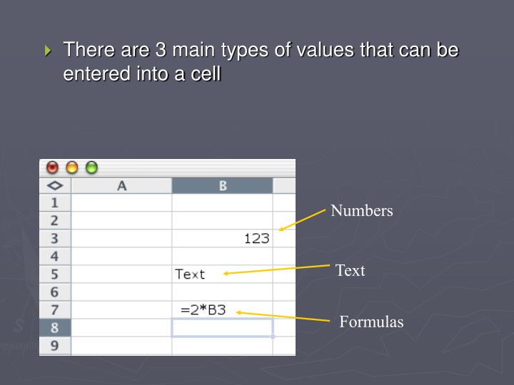 There are 3 main types of values that can be entered into a cell