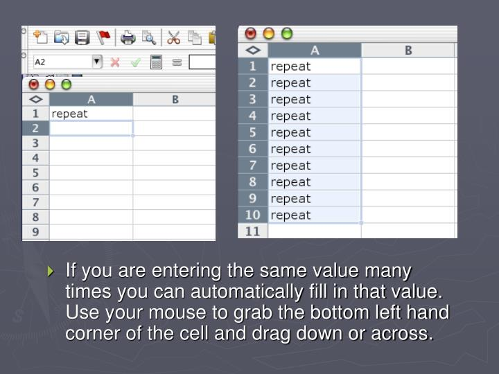 If you are entering the same value many times you can automatically fill in that value.  Use your mouse to grab the bottom left hand corner of the cell and drag down or across.