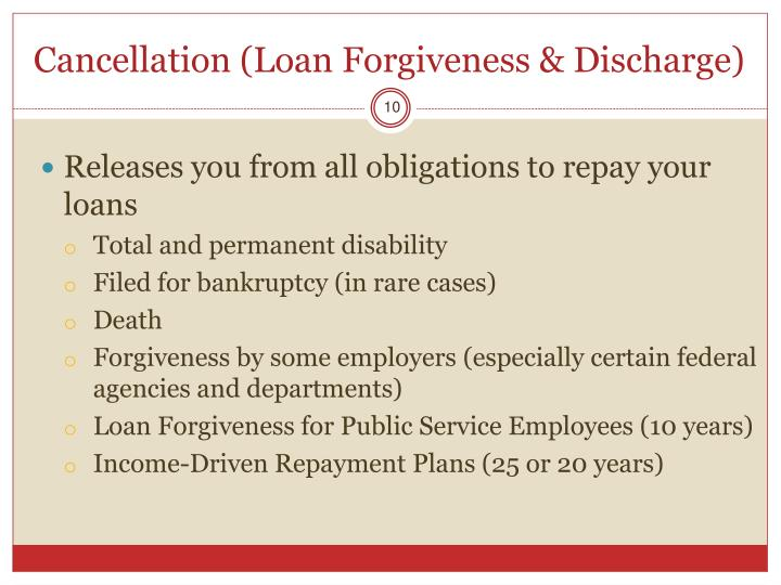 Cancellation (Loan Forgiveness & Discharge)