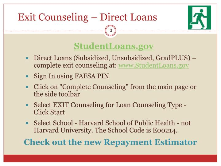 Exit counseling direct loans