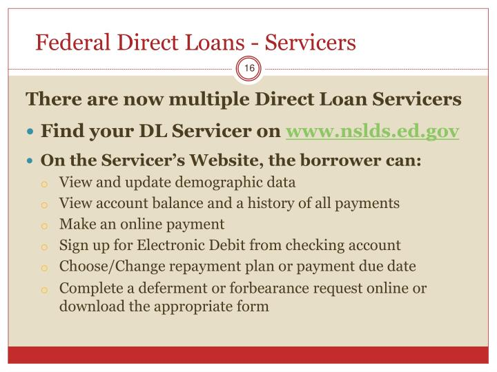 Federal Direct Loans - Servicers