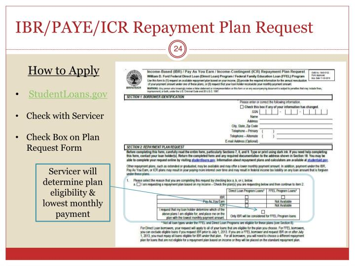 IBR/PAYE/ICR Repayment Plan Request