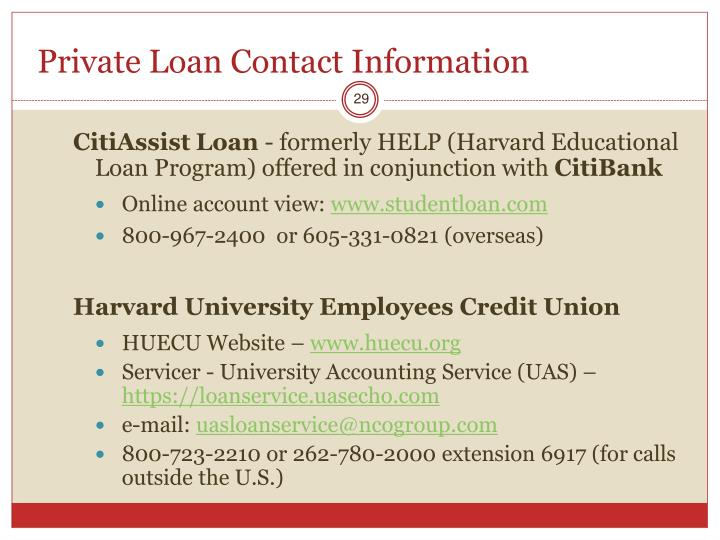 Private Loan Contact Information