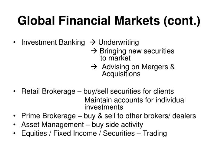 Global Financial Markets (cont.)