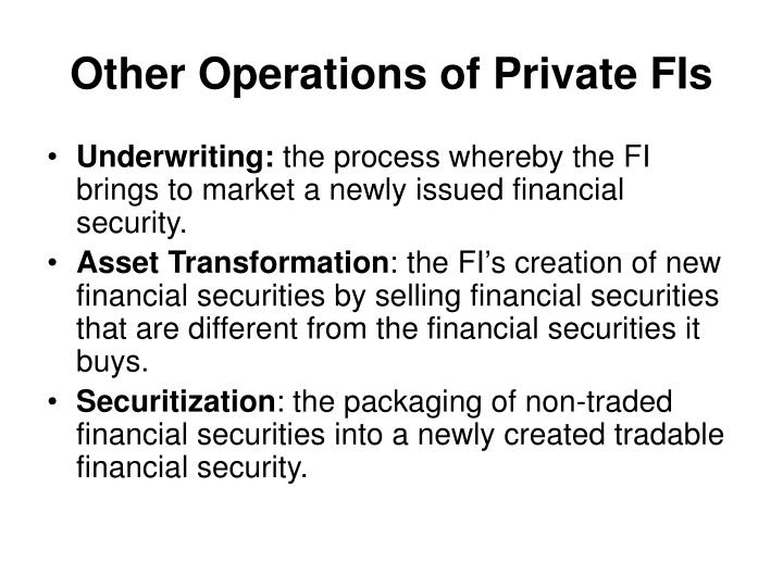 Other Operations of Private FIs