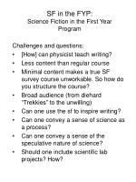 sf in the fyp science fiction in the first year program