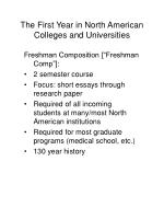 the first year in north american colleges and universities