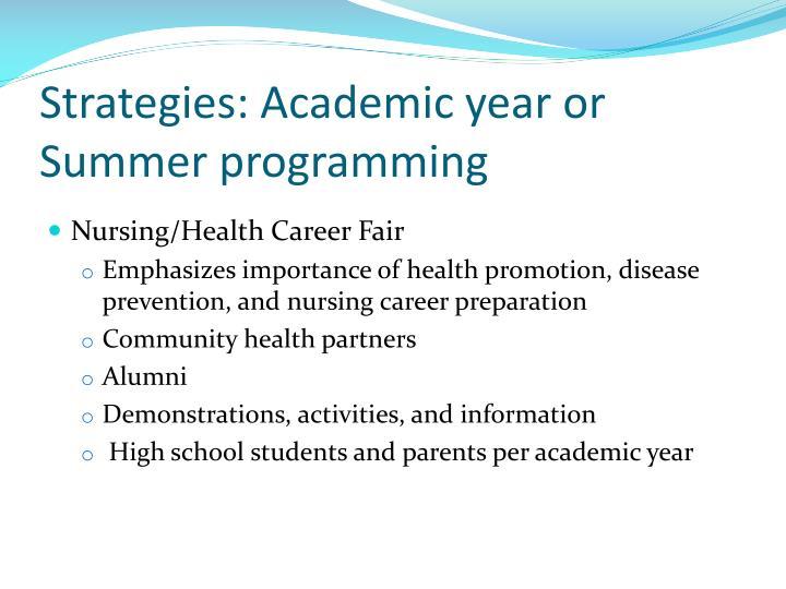 Strategies: Academic year or Summer programming