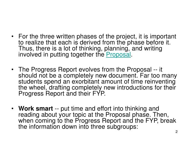 For the three written phases of the project, it is important to realize that each is derived from th...