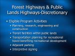 forest highways public lands highways discretionary