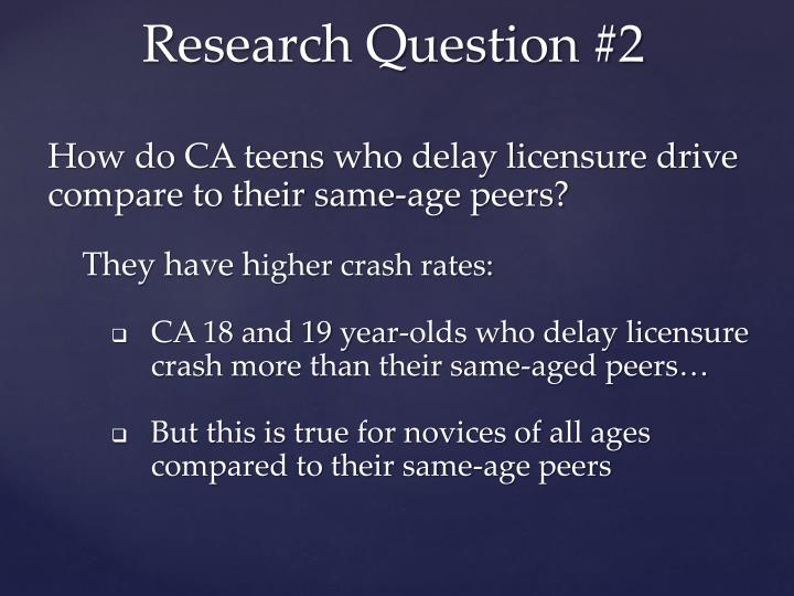 How do CA teens who delay licensure drive compare to their same-age peers?