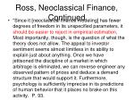 ross neoclassical finance continued