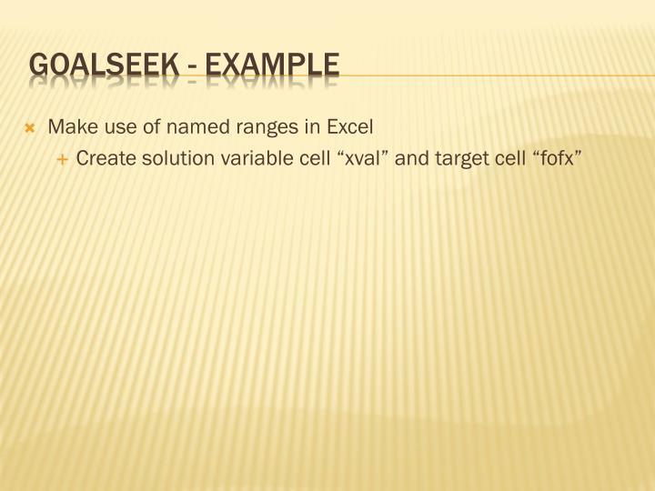 Goalseek example1