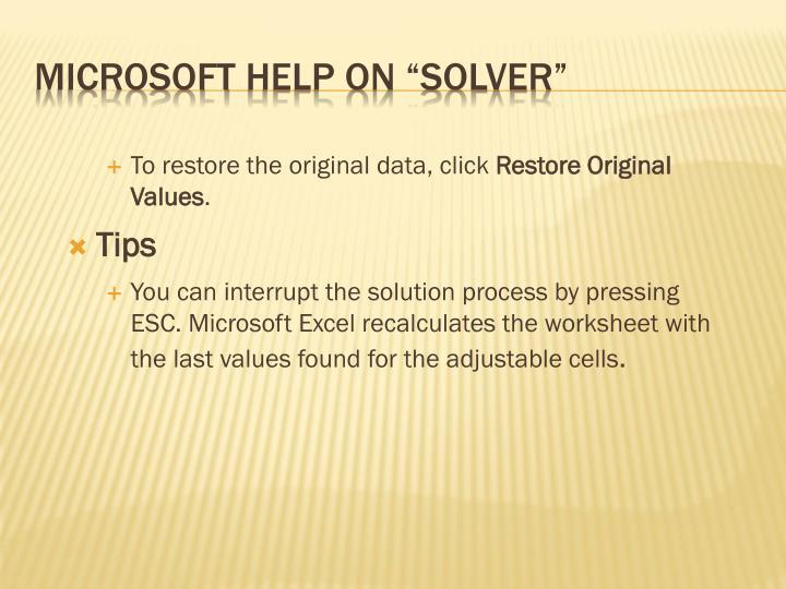To restore the original data, click