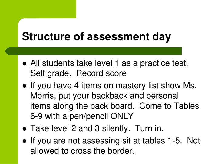 Structure of assessment day