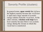 sonority profile clusters