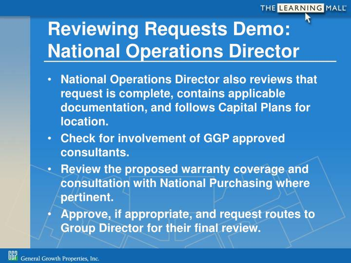 Reviewing Requests Demo: National Operations Director