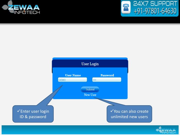 Enter user login ID & password