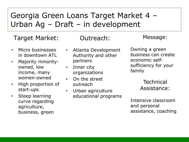 Georgia Green Loans Target Market 4 – Urban Ag – Draft – in development