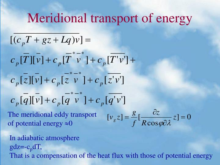 Meridional transport of energy